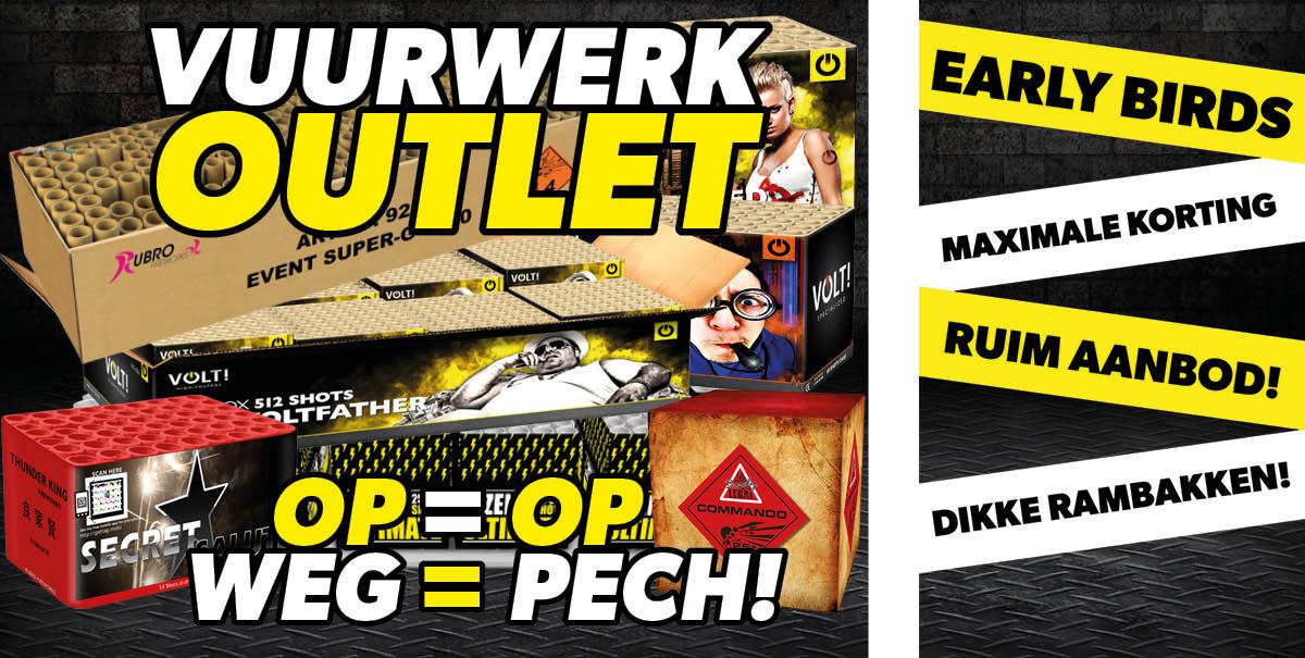 Vuurwerkoutlet - OP=OP, WEG=PECH - Vuurwerkstaffel - Vuurwerk outlet - Goedkoop - Maximale korting